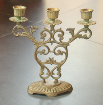 Judaica Shabbat Candlestick Candle Holder Bronze Vintage Israel Hen Holon 1960's image 3