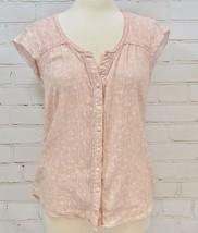 Eddie Bauer Sleeveless/Cap Sleeve Blouse Shirt Womens S 100% Cotton Pink Floral - $33.66
