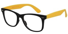EBE Mens Womens Retro Style Reading Glasses Black & Yellow Full Frames Rx - $20.23