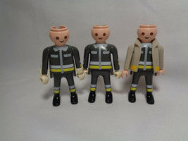 1997 Playmobil Fireman Firefighter Grey Uniform 3 Male Replacement Figures  - $3.94
