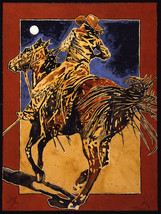 She Held the Line by Michael Swearngin Western Cowgirl On Horseback 40x30 Canvas - $395.01