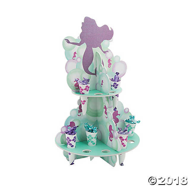Fun Express Mermaid Sparkle Treat Stand with Cones Party Decor