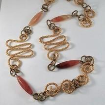Necklace the Aluminium Gold & Burnished with Agate Orange Long 95 CM image 2