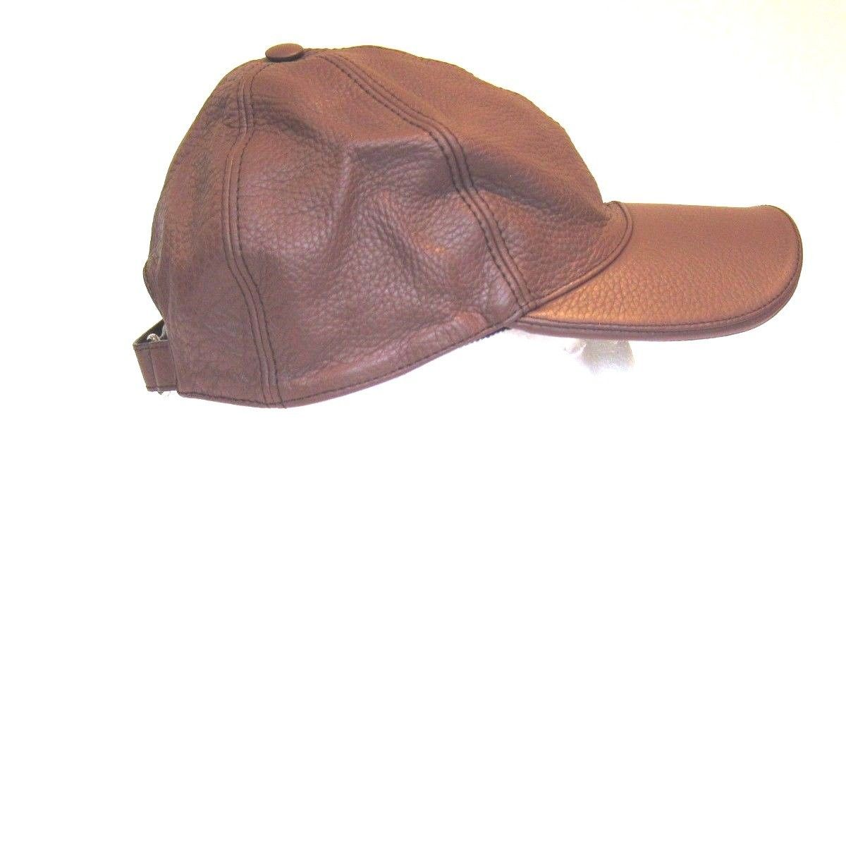 9e88fa5008d B-158135 New Gucci Logo Brown Leather Baseball Hat Cap Size Medium MD