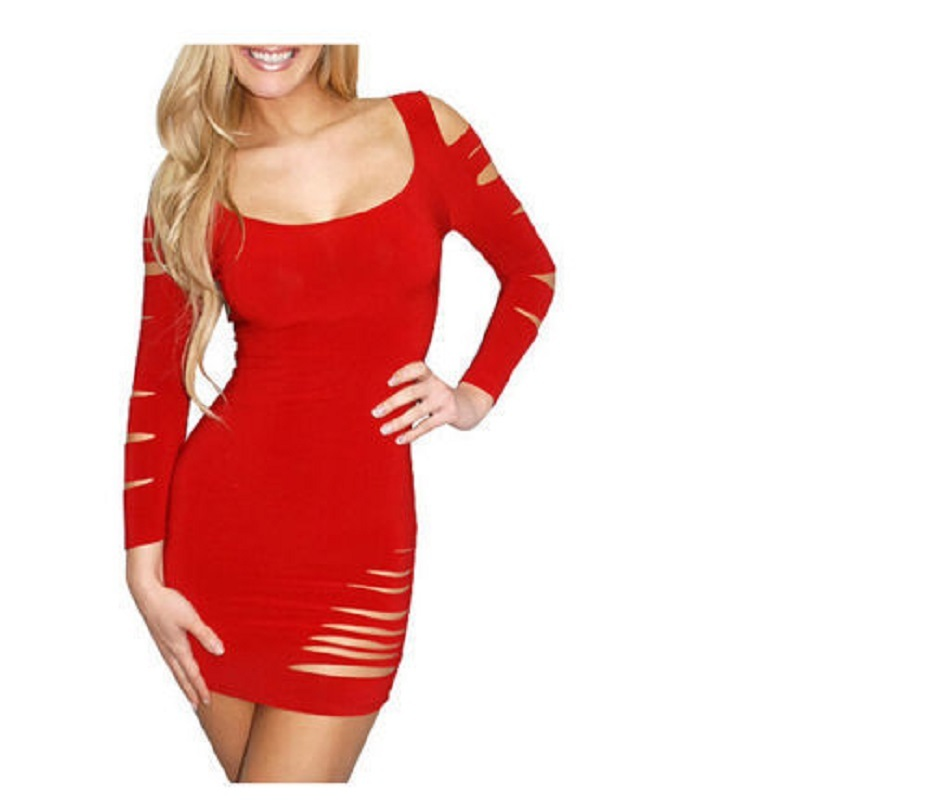 Sexy Women Red Short Long Sleeve Low Round Fit Dress Details On Raw Ripped Slits