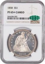 1858 $1 NGC/CAC PR 65+ CAM - Rare Proof-Only Issue - Liberty Seated Dollar - $42,874.00