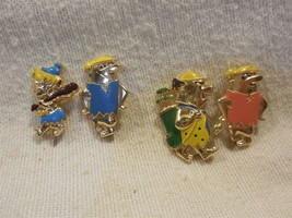 Flintstones Vintage Set of 4 Hat Lapel Stick Pins - Fred, Barney & Bamm-... - $15.95