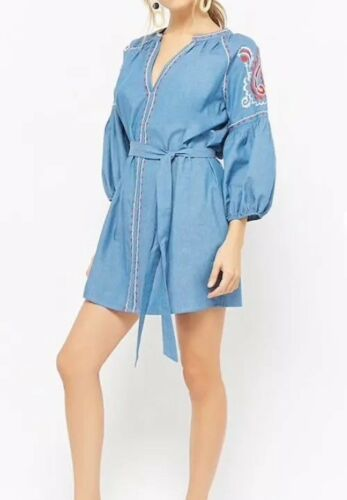 Forever 21 Embroidered Chambray Peasant Dress Denim Blue Red Belted L NEW
