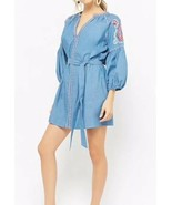 Forever 21 Embroidered Chambray Peasant Dress Denim Blue Red Belted L NEW - $19.62