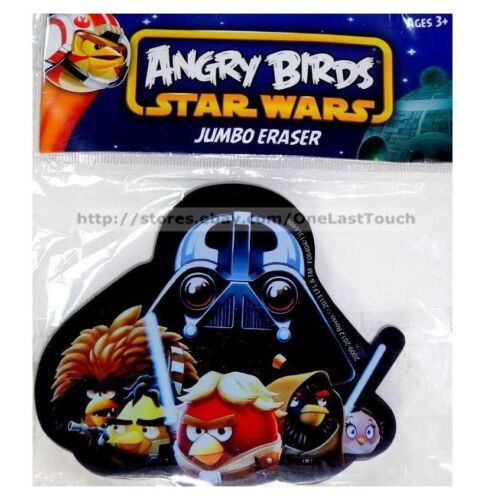 ANGRY BIRDS Jumbo Eraser STAR WARS Great For School/Office BLACK+CHARACTERS New!