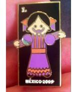 Mexico Travel Souvenir Pin Little Mexican Hispanic Girl 2009 Latin Ameri... - $3.99