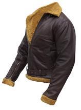Men's B3 Sheepskin Aviator Flight Fur Shearling Brown Bomber Leather Jacket image 3