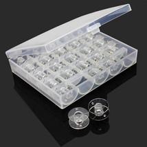 25Pcs/Set Empty Bobbins Sewing Machine Spools Clear Plastic Case Storage... - $16.14
