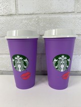 New Starbucks Lilac Lips 16 Oz. Hot Drink Cups With Lid (2)  - $19.95