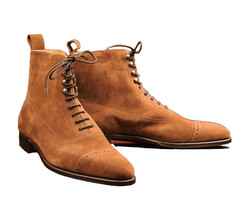 Handmade Men's Brown Suede Two Tone High Ankle Lace Up Boot image 5