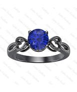 Round Blue Sapphire 14k Black Gold Over 925 Silver Double Heart Ring Wom... - $50.57