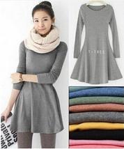 Women's Girl Mini Dress Long Sleeve Candy Color One-piece Slim Basic Dresses
