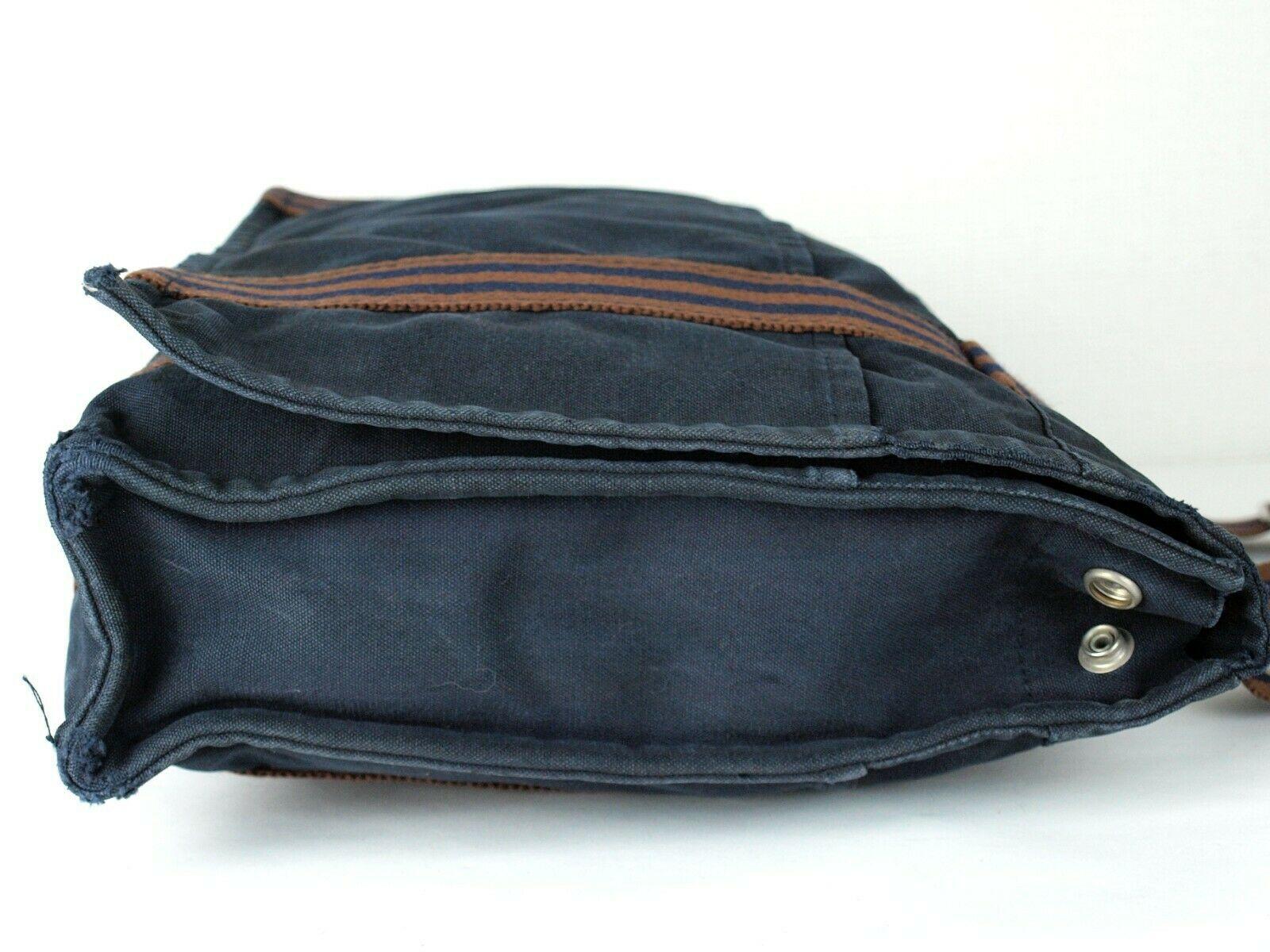 Auth Hermes Fool Toe Vassus MM Navy Cotton Canvas Shoulder Bag Purse France Used image 4
