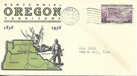 Oregon Territory Centennial Scott # 783 PM Walla Walla WA Linprint Cachet - $4.95