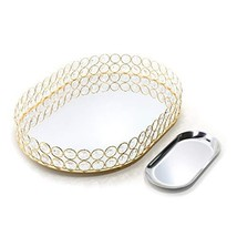 Lindlemann Mirrored Crystal Vanity Tray - Ornate Decorative Tray for Per... - $51.26