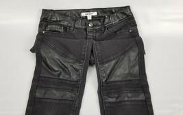 DKNY Black Jeans 12 Stretch Black Glossy Knee Design - $15.83
