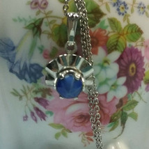 "Vintage Jewelry: 16 1/2""Silver Tone Chain W/ 1/2"" Pendant 170505 - $7.99"