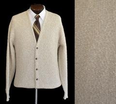 Vintage 80s Oatmeal Grandpa Cardigan Sweater Basketweave Size  - $89.99