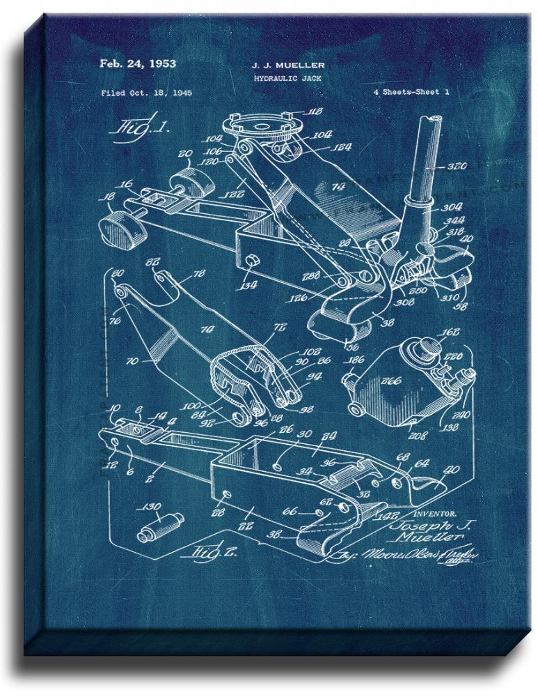 Primary image for Hydraulic Jack Patent Print Midnight Blue on Canvas