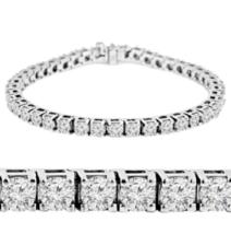 Round Cut Swarovski Diamond Set In Solid 10k Gold Womens Classic Tennis ... - $899.99