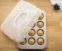 USA Pan 1200MFLD-ST Bakeware Nonstick Cupcake and Muffin Pan with LId - $32.49