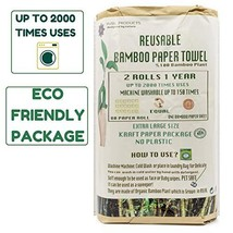 Ecosophy Bamboo Reusable Paper Towels - 2 Rolls 1 Year Supply - Large Size Reusa