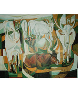Oil Painting Original Hand Painted Large Size Cow Animal 47x39 inch - $355.00
