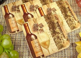 Set of 4 same design Wood Cork Coasters, Wine theme, D'Lusso Collection,... - $7.91