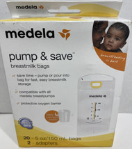 Medela Pump & Save Breastmilk Bags 20ct and 2 Adapters Br1 - $18.80