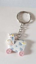 cute cow keyring  handmade in uk from uk made parts keyring, keyfob in gift box