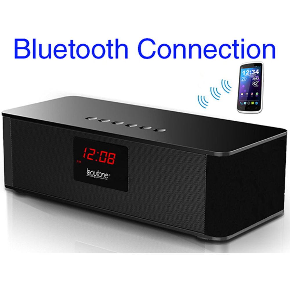 Boytone BT-87CR Portable FM Radio Alarm Clock, Wireless Bluetooth 4.1 Speaker, B