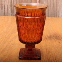 Vintage Indiana Glass Company Mt. Vernon Amber Glass Goblet Wine Water - $18.69