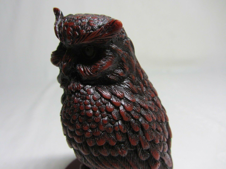Dark Red Black Resin Owl Bird on Branch Figurine Vintage Asian Symbols