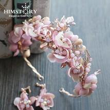 Himstory Handmade Romantic Princess Wedding Hairband Pink Blossom Flower... - £33.77 GBP