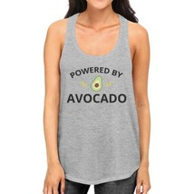 Powered By Avocado Womens Grey Cotton Tanks Round Neck Cute Design - $14.99