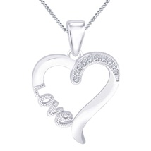 'Love' Heart Pendant With Chain For Women's 14k White GP 925 Silver Round Cut CZ - $40.66