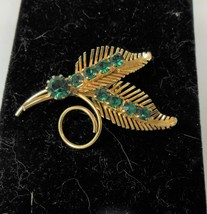Gold tone Leaf Pin Brooch Green Rhinestones - $10.88