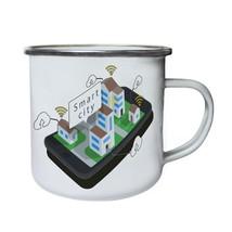 New Mobile Phone Smart City Retro,Tin, Enamel 10oz Mug l851e - $13.13