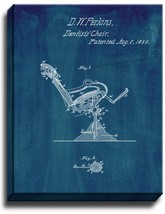 Dental Chair Patent Print Midnight Blue on Canvas - $39.95+