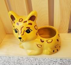 """Air Plant in Jaguar Animal Planter, 4"""" yellow ceramic, Live Airplant, Jay Jaguar image 6"""