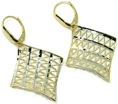 18K YELLOW WHITE GOLD PENDANT EARRINGS ONDULATE WORKED SQUARE, SHINY, STRIPED image 2