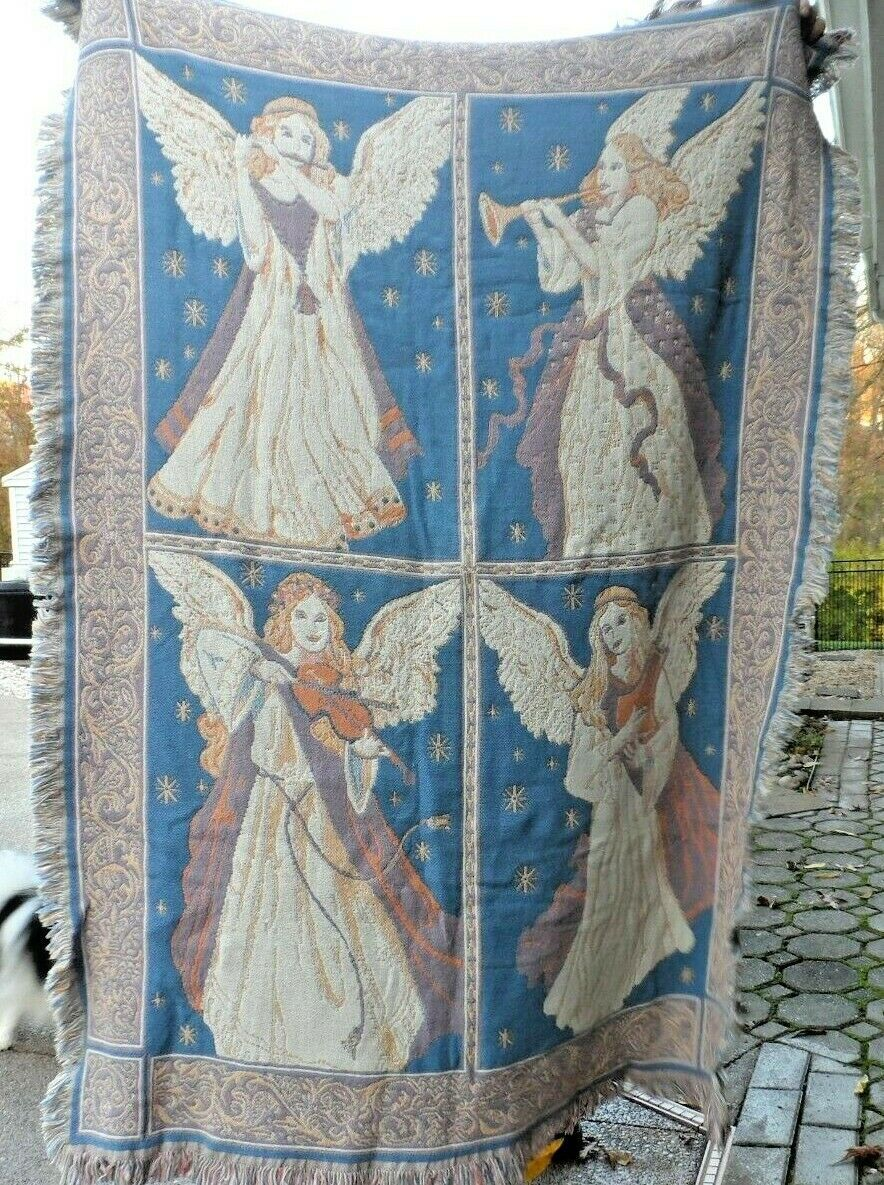 "Primary image for Beautiful Blue and tan Angel Musicians throw tapestry blanket  50"" x 72"""
