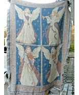 "Beautiful Blue and tan Angel Musicians throw tapestry blanket  50"" x 72"" - $26.00"