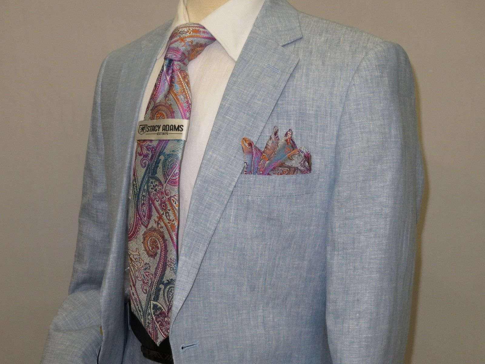 Primary image for Mens Summer Linen Suit Apollo King Half Lined 2 Button European LN5 Light blue