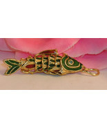 Vintage Cloisonne Enamel Articulated Fish Pendant Green & Gold Tone Koi ... - $23.99